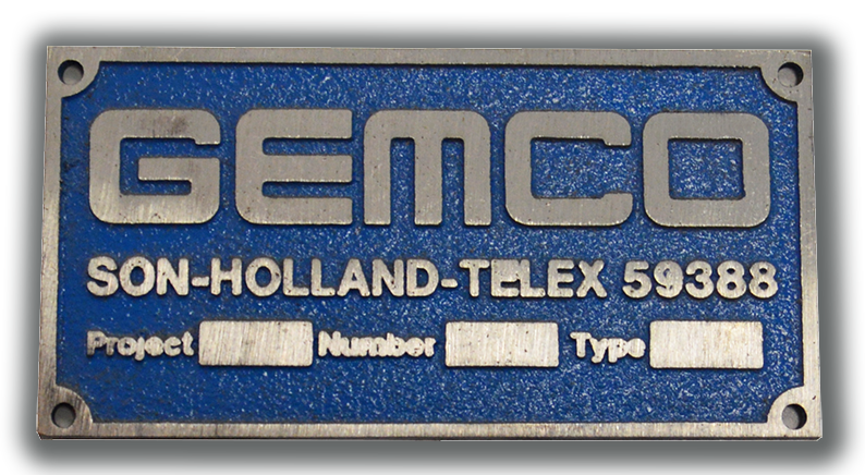 gemco machine plate with telex number